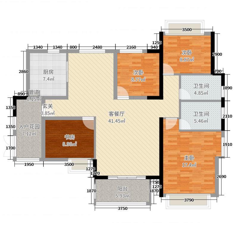 裕福国际城150.24㎡C1户型3室3厅2卫1厨