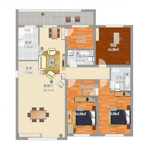 世纪花园3室2厅2卫1厨169.00㎡户型图