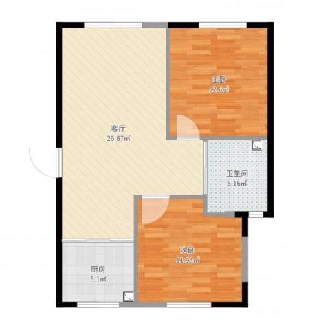 天富御苑2室1厅1卫1厨77.00㎡户型图