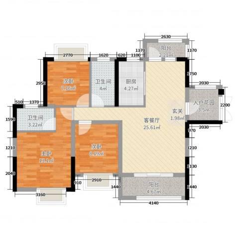 碧琴湾花园3室2厅2卫1厨98.00㎡户型图