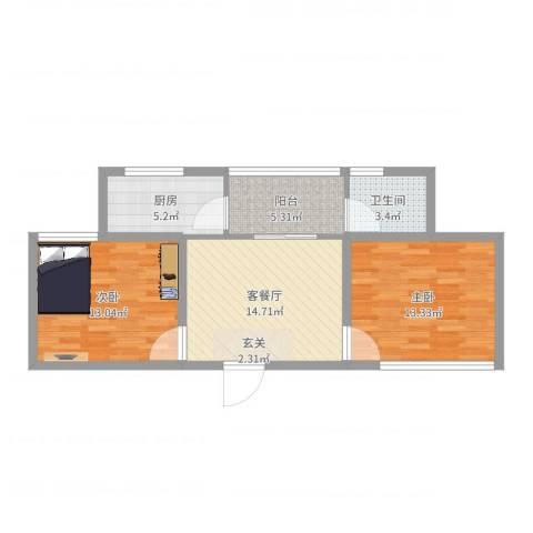 兴科明珠花园三期2室2厅1卫1厨69.00㎡户型图