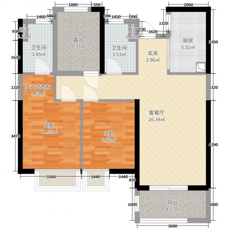 万科水晶城89.00㎡30#/31#1梯03单元户型3室3厅2卫1厨