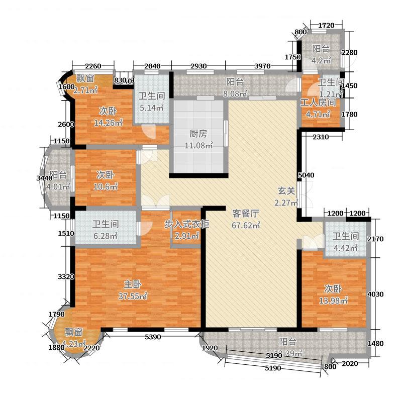 品尊国际252.00㎡10#A户型5室5厅3卫1厨
