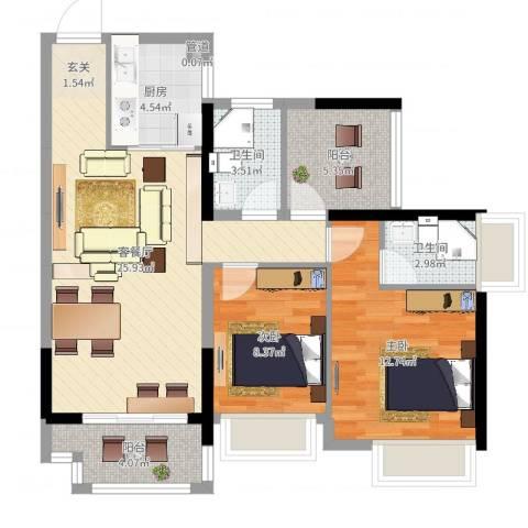 深基天海城市花园2室2厅2卫1厨84.00㎡户型图