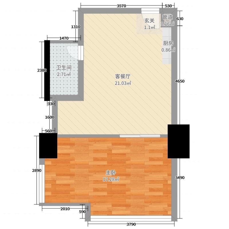 众东国际66.30㎡22号房户型1室1厅1卫1厨