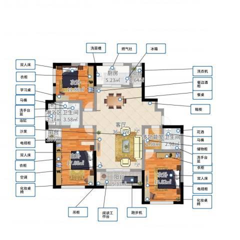 天朗五珑3室1厅2卫1厨132.00㎡户型图