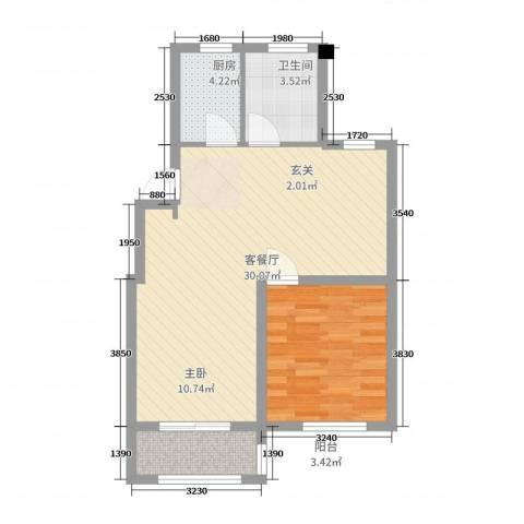 天新嘉苑二期1室2厅1卫1厨74.00㎡户型图