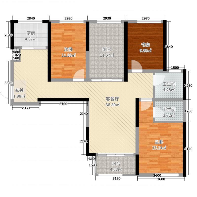 三和里126.84㎡8#、9#E2户型3室3厅2卫1厨