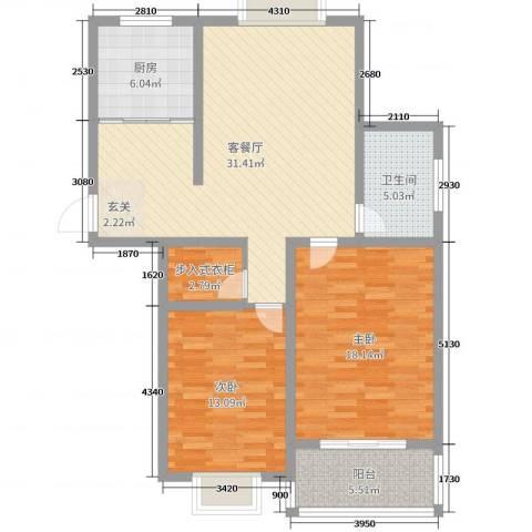 嘉禾颐苑2室2厅1卫1厨102.00㎡户型图