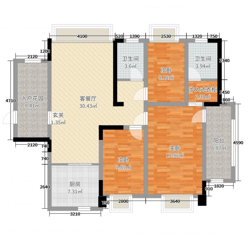 叁�公馆123.42㎡2#E户型3室3厅2卫1厨