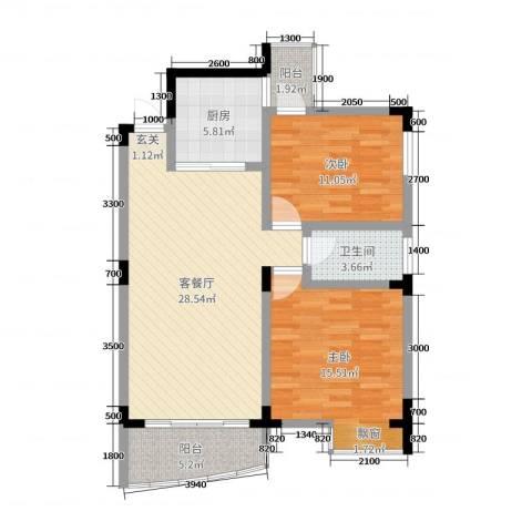 梧桐大厦2室2厅1卫1厨80.00㎡户型图