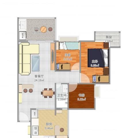 雍景豪园3室2厅1卫1厨82.00㎡户型图