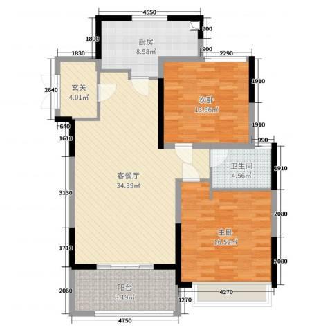 昌和・水岸花城2室2厅1卫1厨112.00㎡户型图