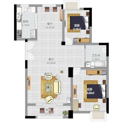 文峰城市广场2室1厅1卫1厨108.00㎡户型图