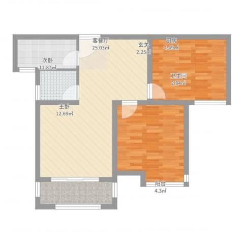 冠捷・观邸2室2厅1卫1厨88.00㎡户型图