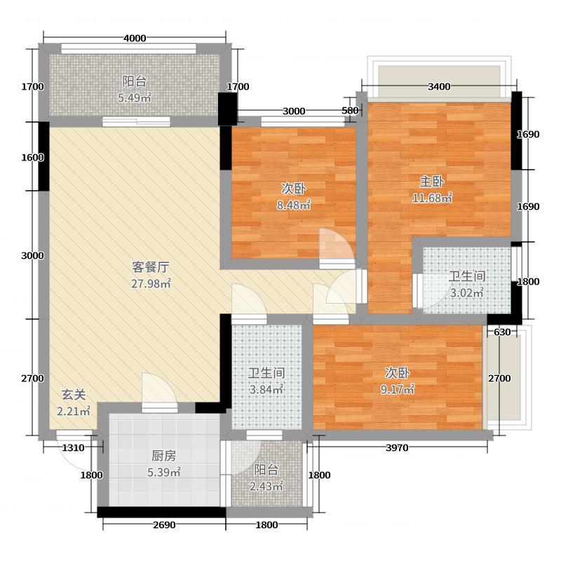 中兴华庭111.05㎡1栋A单元A2标准层户型3室3厅2卫1厨