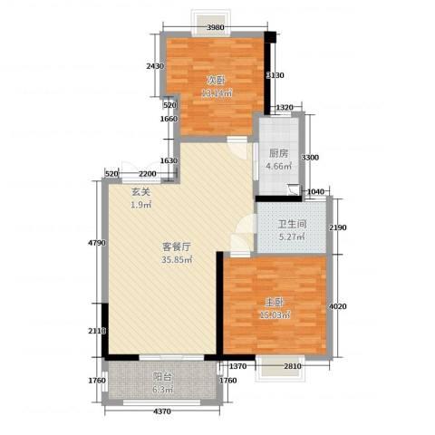 保利达江湾城2室2厅1卫1厨101.00㎡户型图