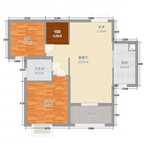 保利达江湾城2室2厅1卫1厨90.00㎡户型图