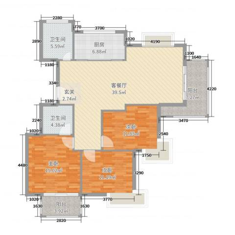 清江华府3室2厅2卫1厨132.00㎡户型图