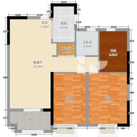 昌和・水岸花城3室2厅1卫1厨106.00㎡户型图