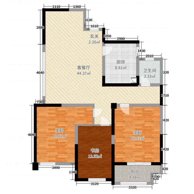 金海丽水湾138.00㎡2#中间A户型3室3厅1卫1厨