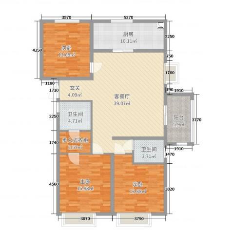 昌和・水岸花城3室2厅2卫1厨139.00㎡户型图