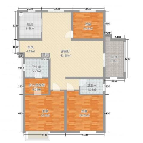 昌和・水岸花城3室2厅2卫1厨140.00㎡户型图