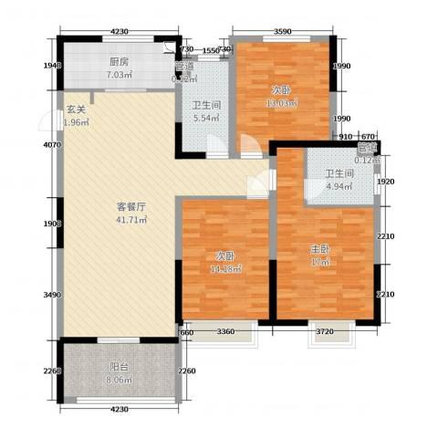 昌和・水岸花城3室2厅2卫1厨147.00㎡户型图