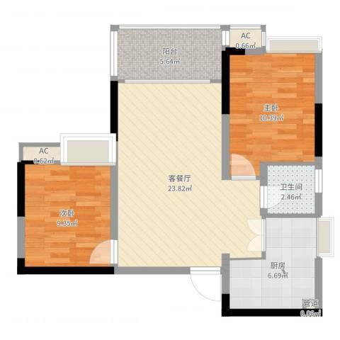 泽瑞琥珀天成2室2厅1卫1厨75.00㎡户型图