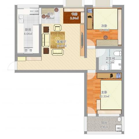 春天花园2室2厅1卫1厨86.00㎡户型图