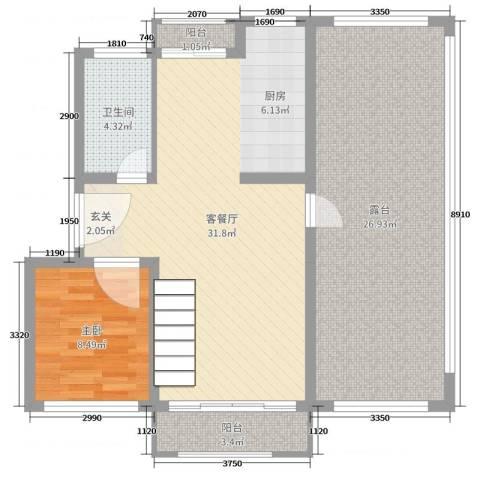 欧美世纪花园1室2厅1卫0厨95.00㎡户型图