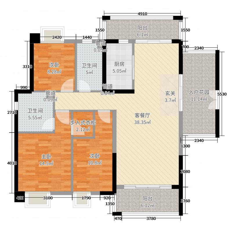 尚东领御142.48㎡12栋2单元03户型3室3厅2卫1厨