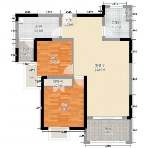 翰庭雅苑2室2厅1卫1厨82.00㎡户型图