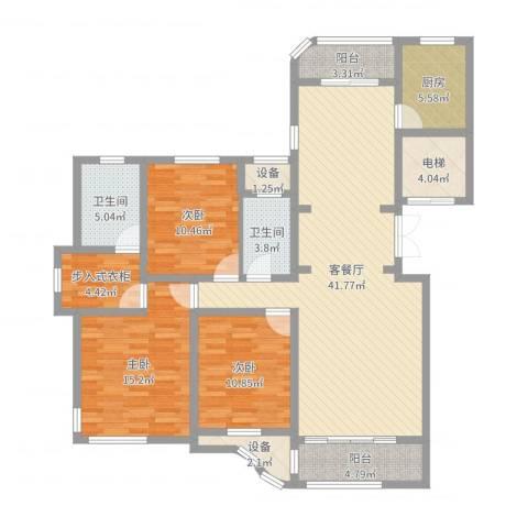 文峰城市广场3室2厅2卫1厨141.00㎡户型图