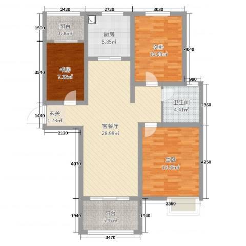 郑西鑫苑名家3室2厅1卫1厨99.00㎡户型图