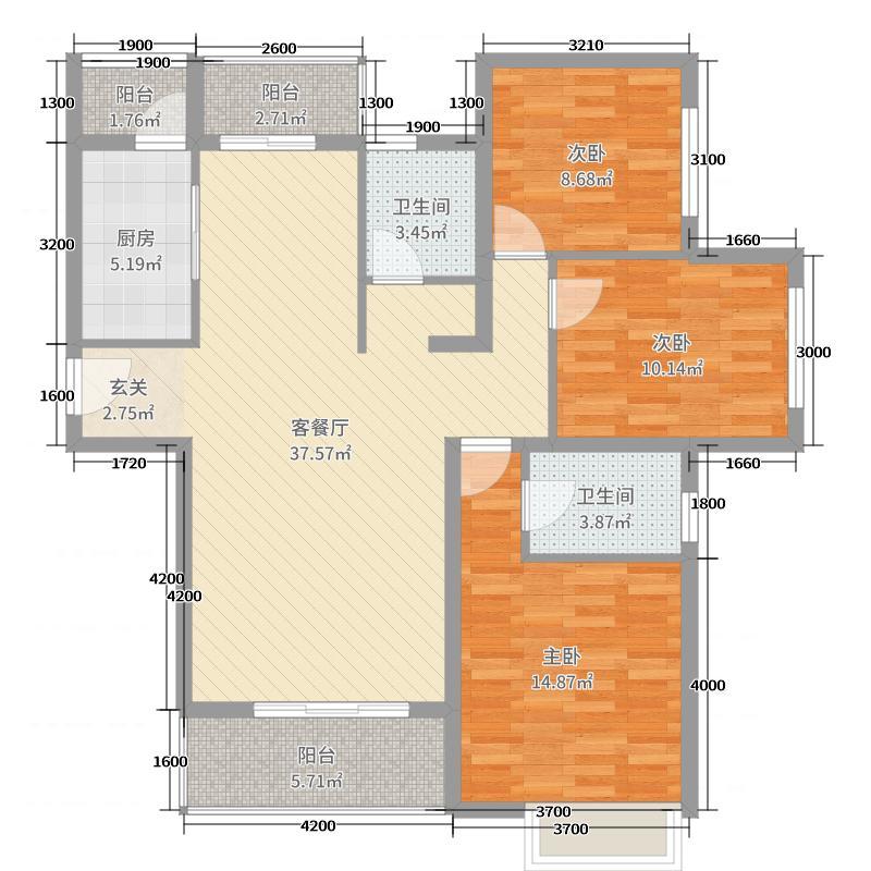 郑西鑫苑名家94.00㎡一期C1户型3室3厅1卫1厨