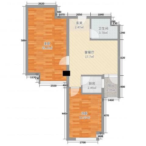 双威理想城二期2室2厅1卫1厨83.00㎡户型图