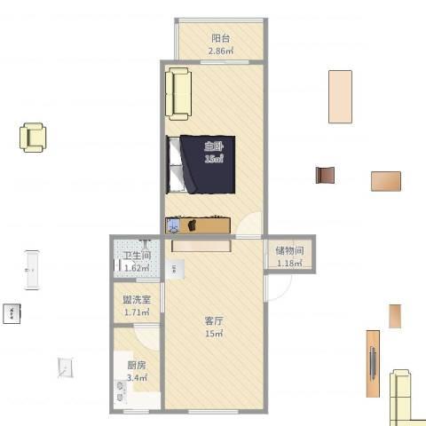 八角北路1室3厅1卫1厨51.00㎡户型图