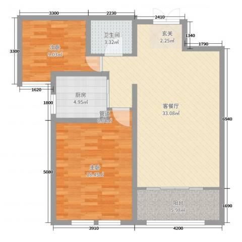 天鹅湖小镇2室2厅1卫1厨107.00㎡户型图