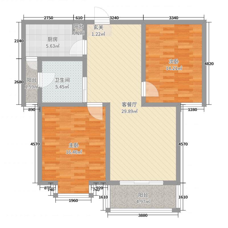 状元府邸97.66㎡11-B户型2室2厅1卫1厨