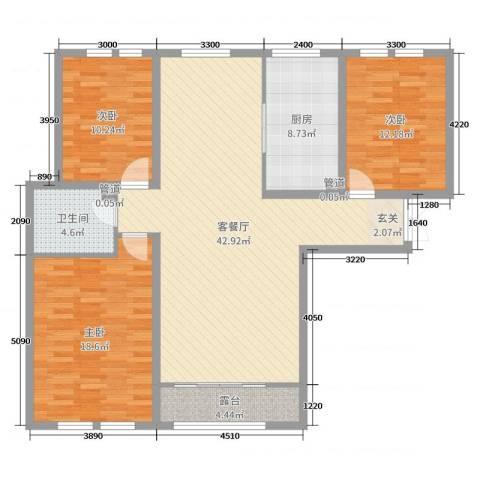 天鹅湖小镇3室2厅1卫1厨122.00㎡户型图