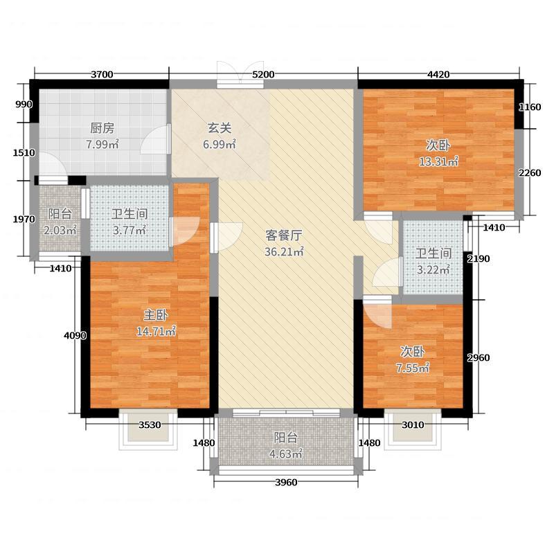 山水云亭120.00㎡M2户型3室3厅2卫1厨