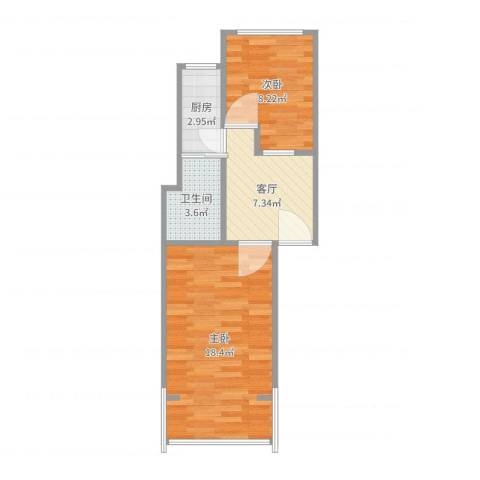 平乐园小区2室1厅1卫1厨51.00㎡户型图