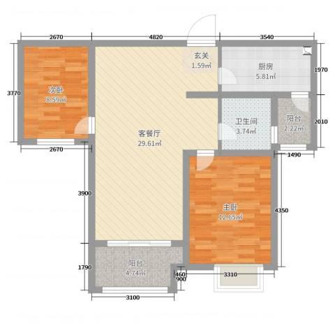 郑西鑫苑名家2室2厅1卫1厨84.00㎡户型图