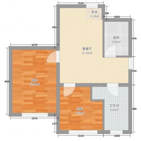 晟宝龙城市花园2室2厅1卫1厨61.00㎡户型图