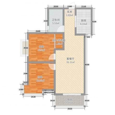 翡翠庄园2室2厅1卫1厨97.00㎡户型图