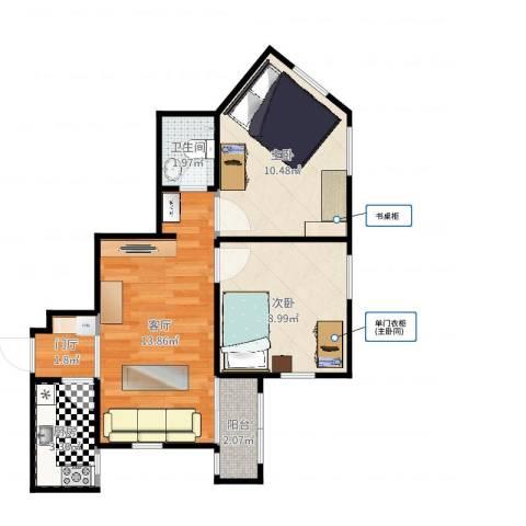 八宝庄2室1厅1卫1厨53.00㎡户型图