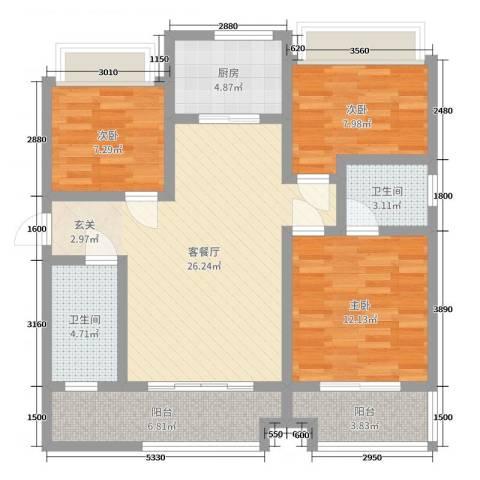 乾基九境城3室2厅2卫1厨110.00㎡户型图