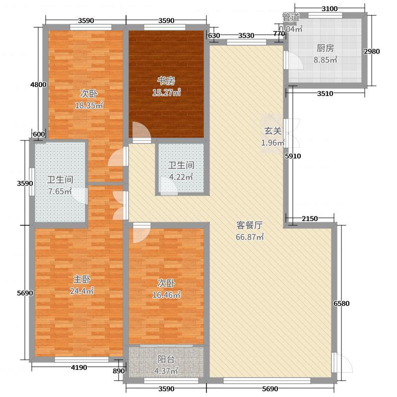 天鹅湖小镇227.00㎡F1同堂户型4室4厅2卫1厨