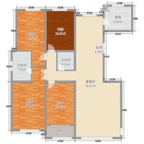 天鹅湖小镇4室2厅2卫1厨227.00㎡户型图